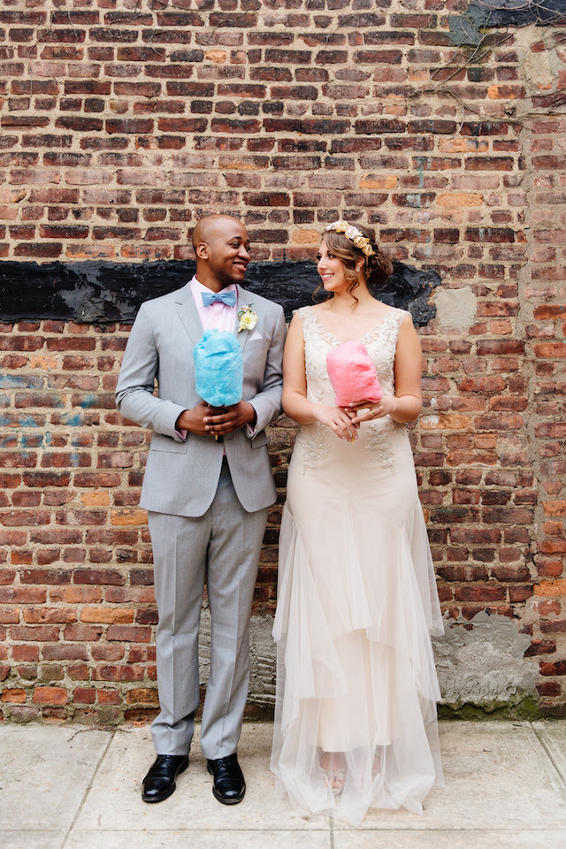 Cotton candy wedding portraits | The Melideos + Kerry Ann Stokes | see more on: http://burnettsboards.com/2015/06/vintage-coney-island-wedding/