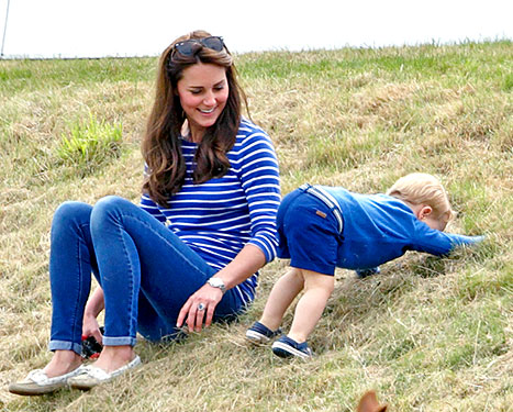 Kate Middlton and Prince George of Cambridge at the Gigaset Charity Polo Match at the Beaufort Polo Club on June 14, 2015 in Tetbury, England.