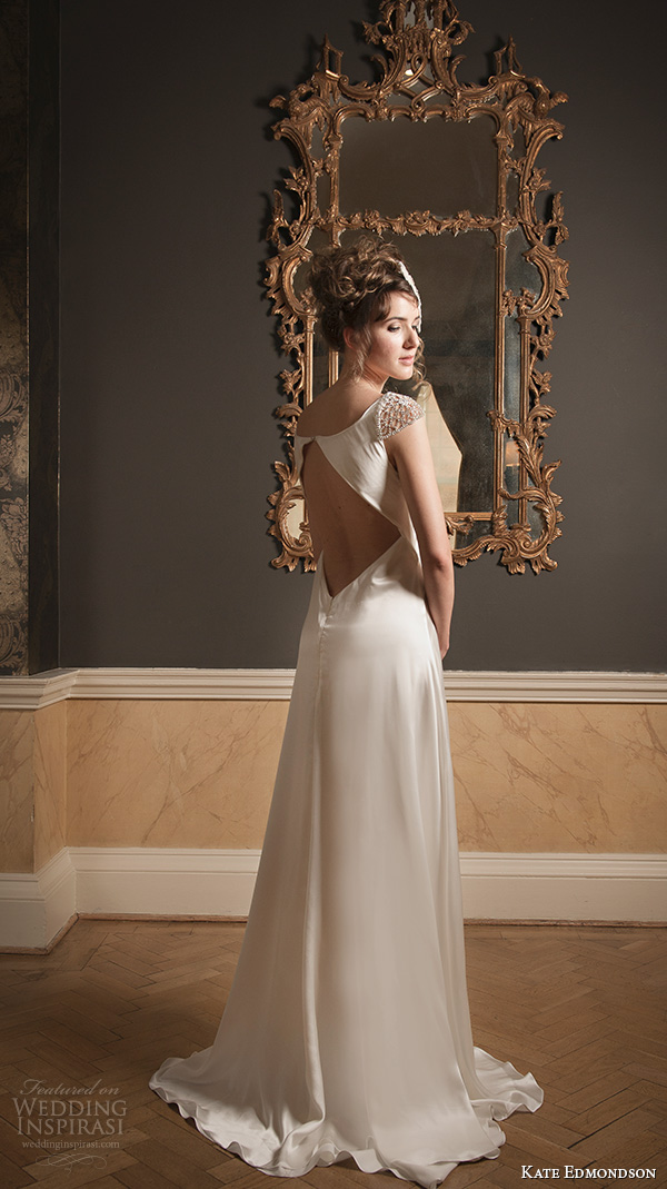 kate edmondson 2015 2016 couture wedding jewel cap sleeves v neck empire wedding dress feather fascinator back view