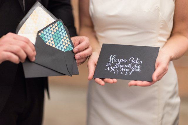 Black and turquoise wedding invites | Cavin Elizabeth Photography | see more on: http://burnettsboards.com/2015/06/modern-wedding-black-white-seafoam/