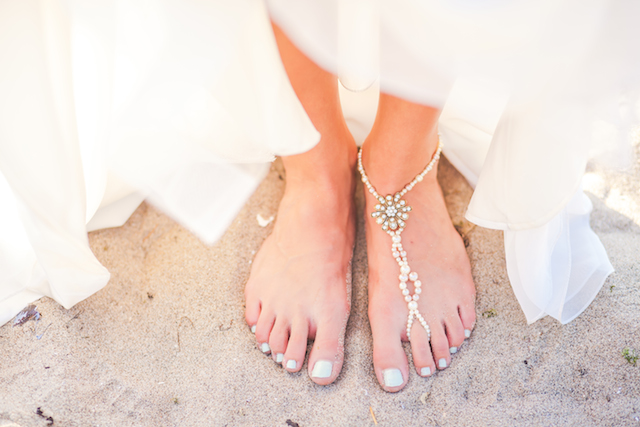 Beach wedding anklet | Denise Lin Photography | see more on: http://burnettsboards.com/2015/06/beach-sweetheart-table/