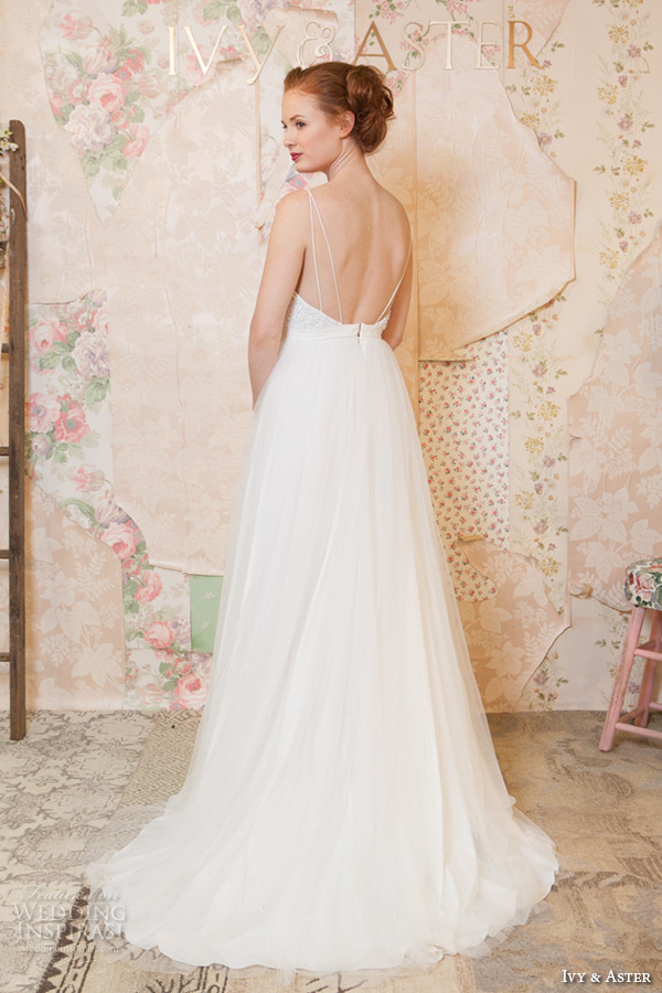 ivy and aster spring 2016 bridal spagetti strap sweetheart neckline tulle skirt a line wedding dress back view