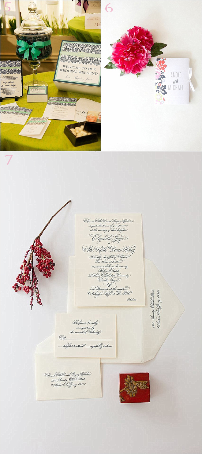Various Wedding Invitation Sets in Green with Black, Multi-Colored and Plain White
