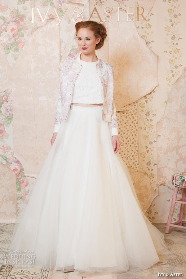 ivy and aster spring 2016 bridal jewel neckline strapless topper modified a line skirt wedding dress with pockets long sleeves floral jacket