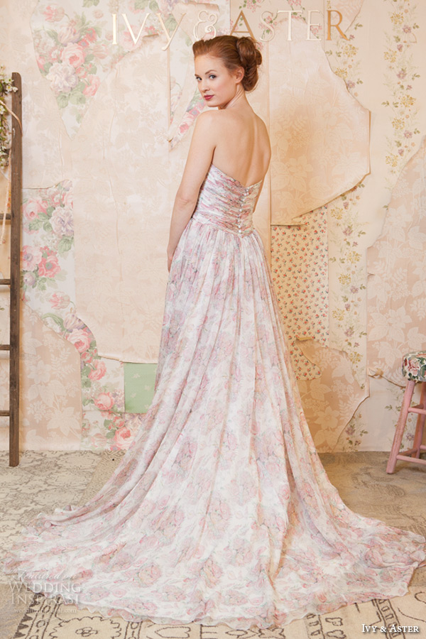 ivy and aster spring 2016 bridal sweetheart neckline strapless pink floral prints a line wedding dress back view