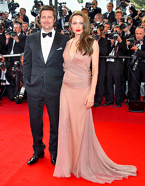 Angelina Jolie and Brad Pitt attend the 'Inglourious Basterds' Premiere at the Grand Theatre Lumiere during the 62nd Annual Cannes Film Festival on May 20, 2009 in Cannes, France.