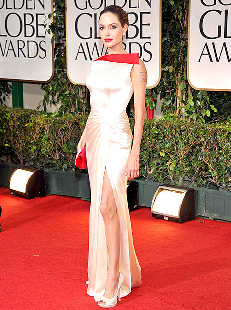 Angelina Jolie arrives at the 69th Annual Golden Globe Awards held at the Beverly Hilton Hotel on January 15, 2012.