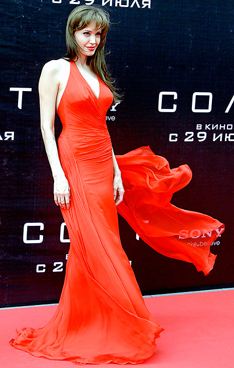 Angelina Jolie arrives for the Russia's Premiere of her feature film 'Salt' in Moscow on July 25, 2010.