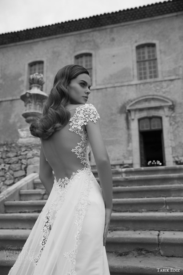 tarik ediz bridal 2015 turmalin cap sleeve wedding dress back view close up bodice