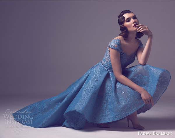 fadwa baalbaki spring 2015 couture cap sleeve lace wedding dress light blue alt view
