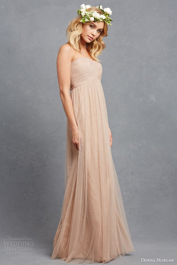 donna morgan bridesmaid dress rose strapless empire wedding dress draped bodice bohemian rose headdress