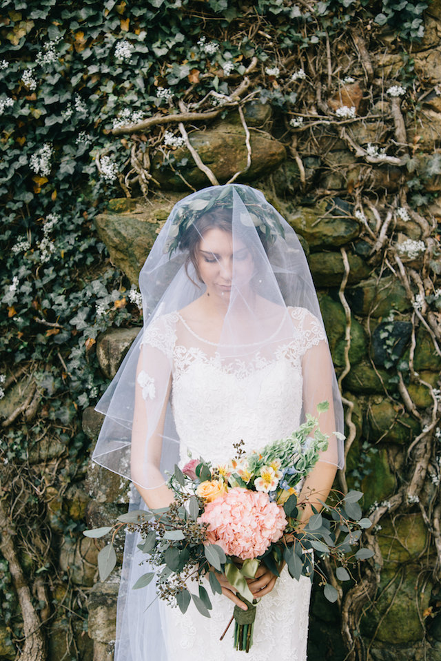 Wedding veil over greenery crown | Nicole Colwell Photography | see more on: http://burnettsboards.com/2015/07/ivy-bridal-session-planned-2-days/