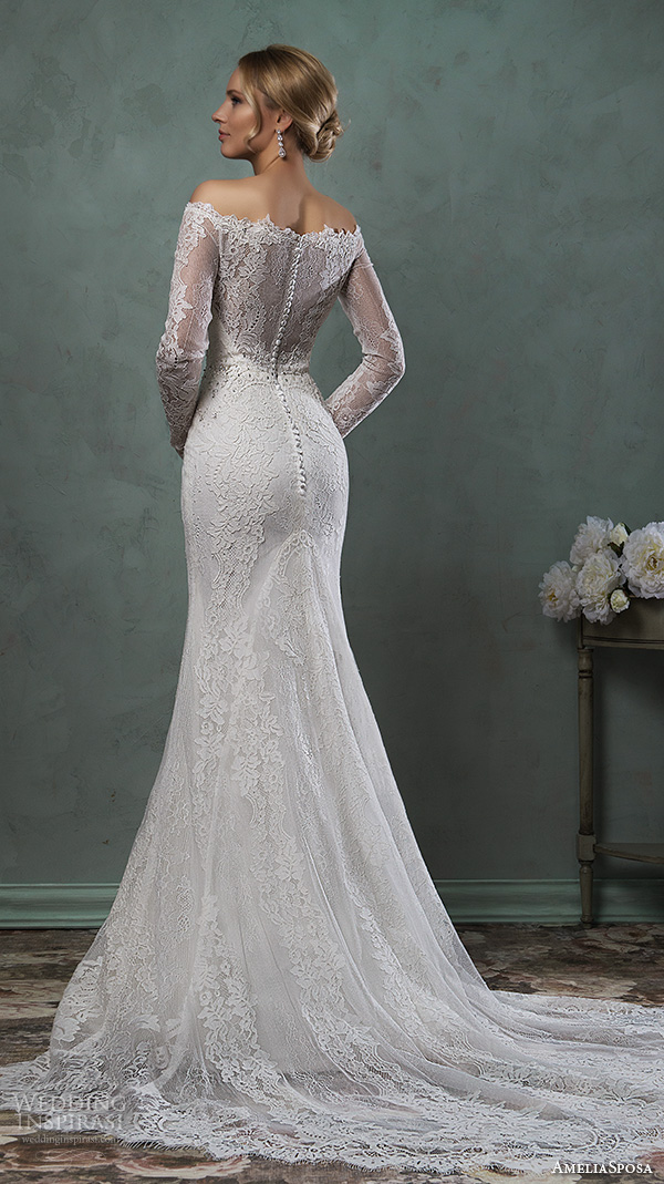 amelia sposa 2016 wedding dresses off the shoulder lace long sleeves fit to flare trumpet beautiful mermaid dress ofelia