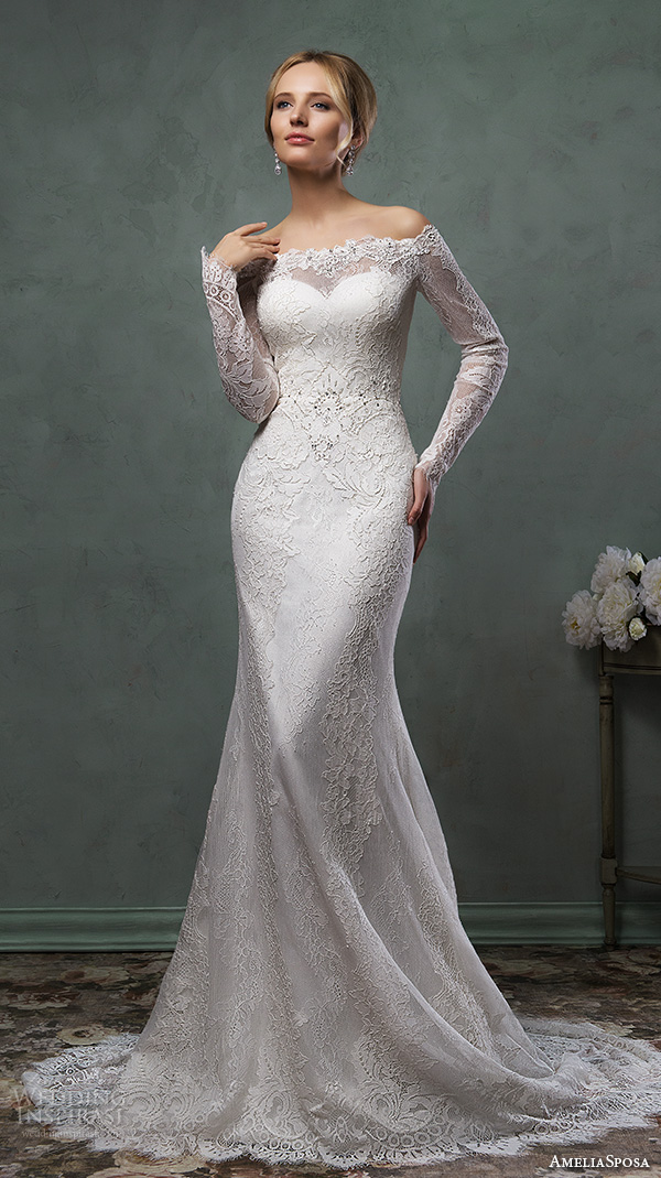 amelia sposa 2016 wedding dresses off the shoulder lace long sleeves fit to flare trumpet gorgeous mermaid dress ofelia
