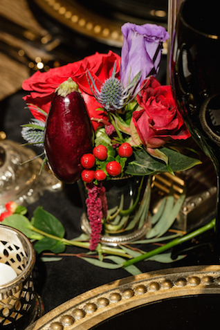 Fruit and rose centerpiece | Sarah Rachel Photography | see more on: http://burnettsboards.com/2015/07/industrial-glam-wedding-black-gold-red/