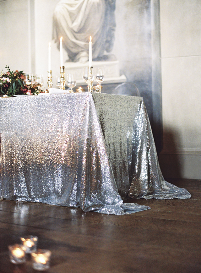 Silver sequin tablecloth | Sarah Hannam | see more on: http://burnettsboards.com/2015/07/classic-wedding-silver-gold/