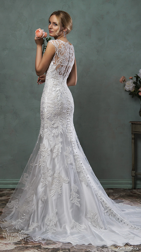 amelia sposa 2016 wedding dresses gorgeous cap sleeves v scallop neckline embroidered silver white fit flare mermaid dress pia back