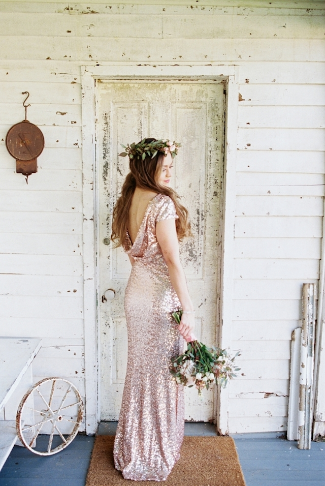 Badgley Mischka blush sequin dress | Jessica Sparks Photography | see more on: http://burnettsboards.com/2015/07/southern-fairytale-engagement-session/