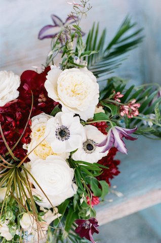 Poppy, peonies, and air plants | White Rabbit Studios | see more on: http://burnettsboards.com/2015/07/spanish-styled-shoot/