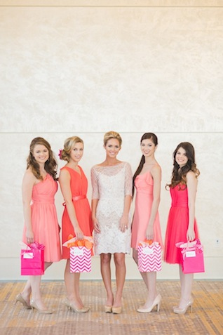 Bridesmaids in pink and orange ⎪ Allen Tsai Photography ⎪ see more on: http://burnettsboards.com/2015/07/kate-spade-inspired-bridesmaids-luncheon/
