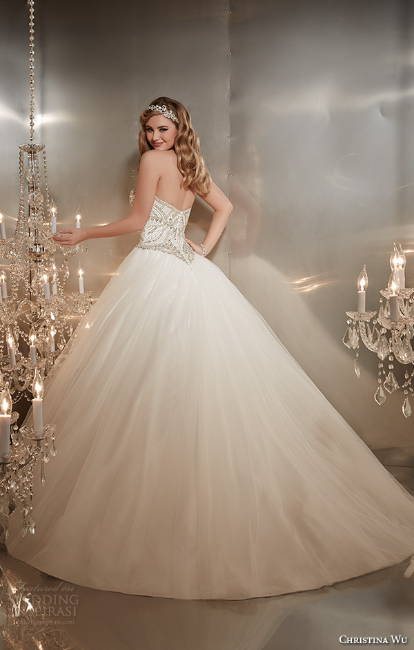 christina wu wedding dresses 2015 strapless sweetheart neckline embroidered bodice tulle skirt wedding ball gown dress 15574 back view