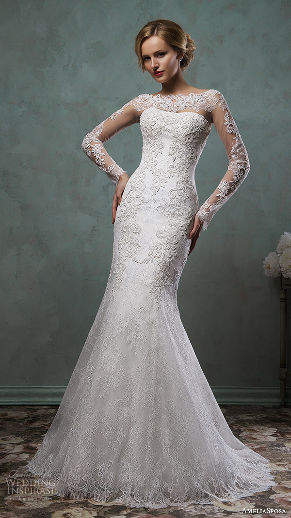 amelia sposa 2016 wedding dresses sheer lace sleeves bateau neckline beautiful embroidery fit flare trumpet mermaid dress camelia