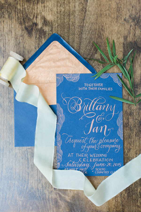 cobalt wedding invitation - photo by Olivia Richards Photography http://ruffledblog.com/natural-woodsy-and-copper-wedding-inspiration
