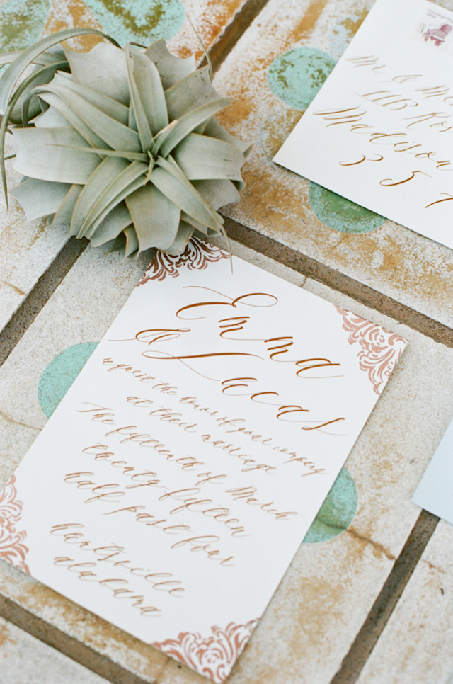Gold calligraphy wedding invitations | White Rabbit Studios | see more on: http://burnettsboards.com/2015/07/spanish-styled-shoot/