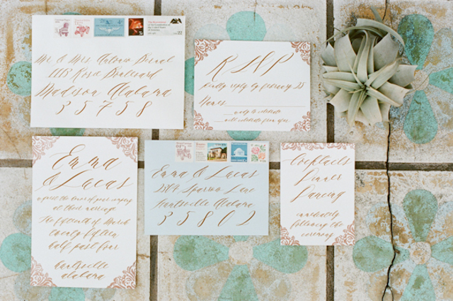 Calligraphy wedding invitations in mint and gold | White Rabbit Studios | see more on: http://burnettsboards.com/2015/07/spanish-styled-shoot/