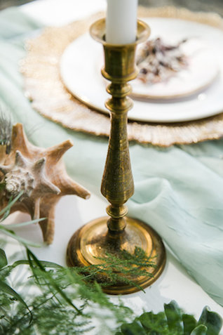 Vintage brass candlestick | John Bello | see more on: http://burnettsboards.com/2015/07/disneys-mermaid-wedding/