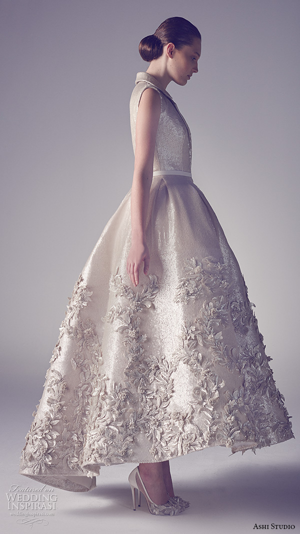 ashi studio couture 2015 sleeveless notch collar beautiful floral embroidery tea length dress side view