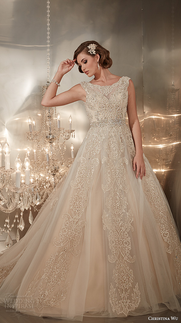 christina wu wedding dresses 2015 beaded straps jewel neckline beautiful a line wedding dress 15576