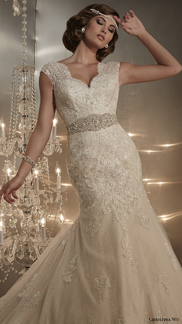 christina wu wedding dresses 2015 thick lace strap beaded bodice beautiful mermaid wedding dress 15568