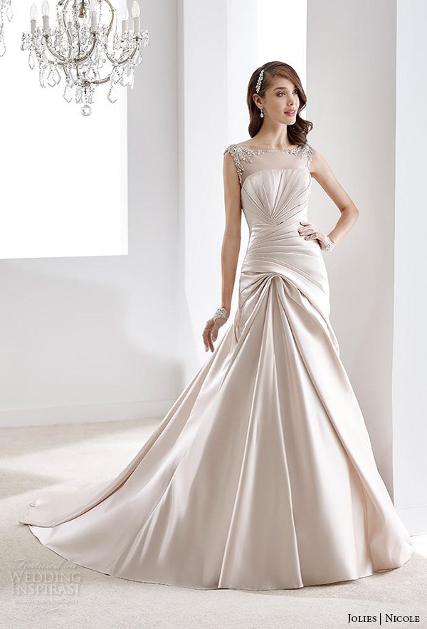 nicole jolies 2016 wedding dresses bateau neckline sleeveless champagne modified a line wedding dress joab16492