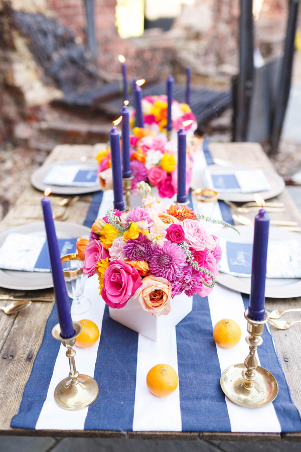 striped table runner - photo by VA Photography http://ruffledblog.com/handcrafted-real-vow-renewal