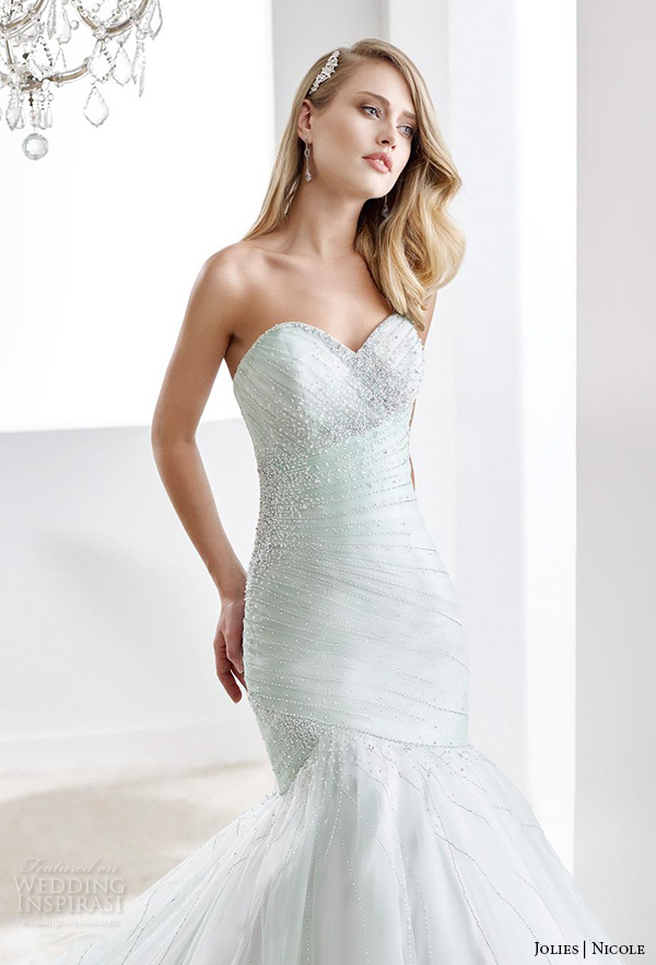 nicole jolies 2016 wedding dresses strapless sweetheart neckline beaded pastel green pretty mermaid wedding dress joab16424 close up