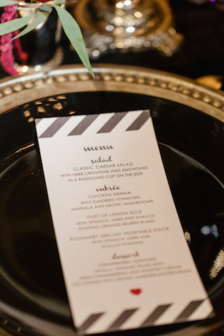 Black and white striped wedding menu | Sarah Rachel Photography | see more on: http://burnettsboards.com/2015/07/industrial-glam-wedding-black-gold-red/