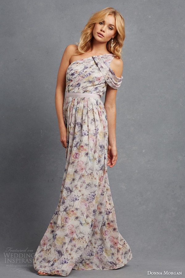 donna morgan pretty bridesmaid dress multicolor pink floral print chloe one shoulder gown