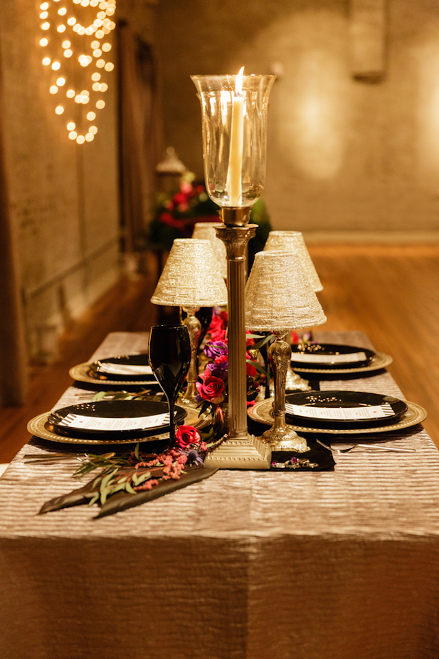 Glam tablescape | Sarah Rachel Photography | see more on: http://burnettsboards.com/2015/07/industrial-glam-wedding-black-gold-red/