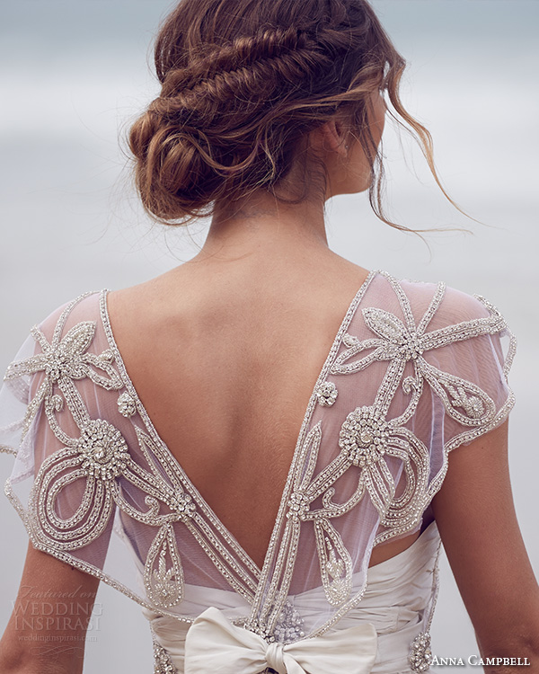 anna campbell 2015 bridal dresses beaded embroidery bodice scoop neckline cap sleeves a line wedding dress adelaide back view close up