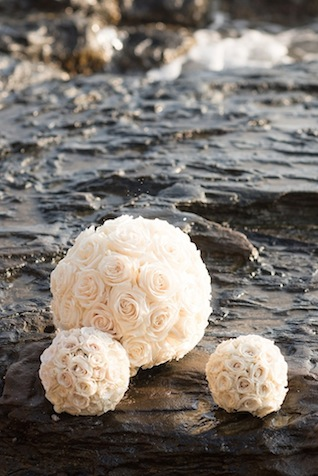 Rose flower ball ⎪Mikkel Paige Photography ⎪ see more on: http://burnettsboards.com/2015/07/lava-rock-bridals-hawaii/