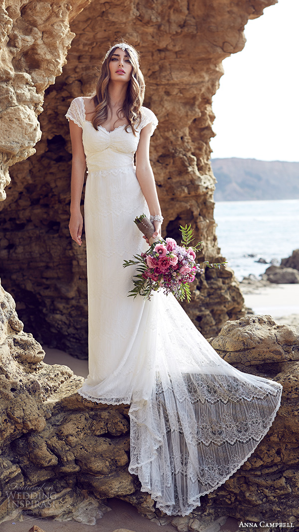 anna campbell 2015 bridal dresse lace strap sweetheart neckline romantic pretty sheath wedding dress lilly