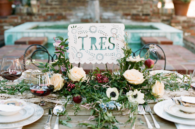 Spanish wedding table number | White Rabbit Studios | see more on: http://burnettsboards.com/2015/07/spanish-styled-shoot/