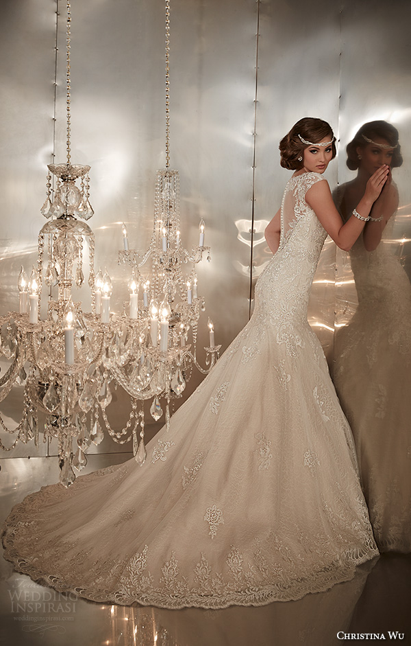 christina wu wedding dresses 2015 thick lace strap beaded bodice beautiful mermaid wedding dress 15568 back view