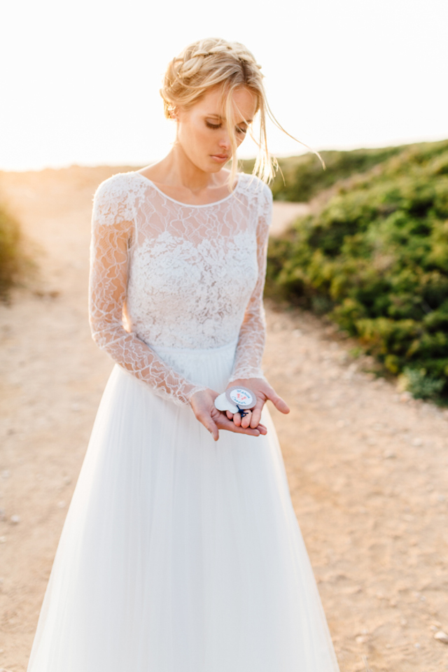 Lace wedding dress Something Blue – Wedding Photography | see more on: http://burnettsboards.com/2015/07/destination-wedding-mallorca-start-finish/