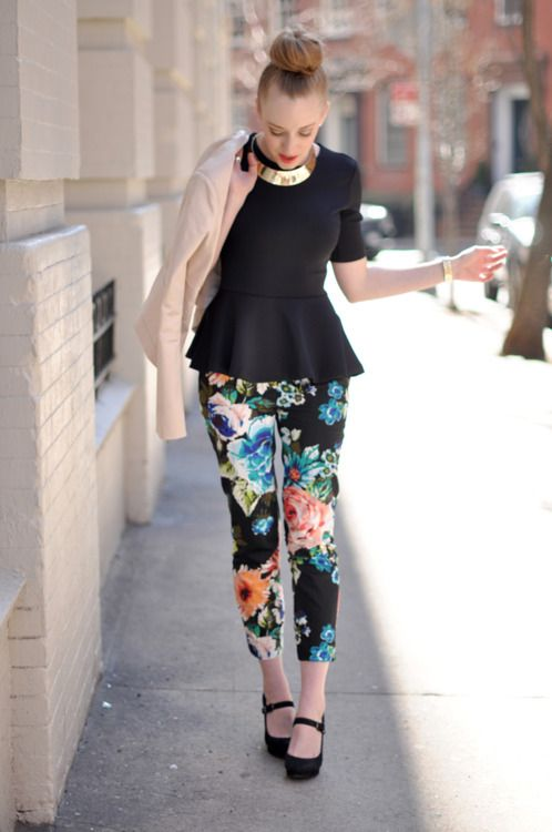 peplum top with floral pants