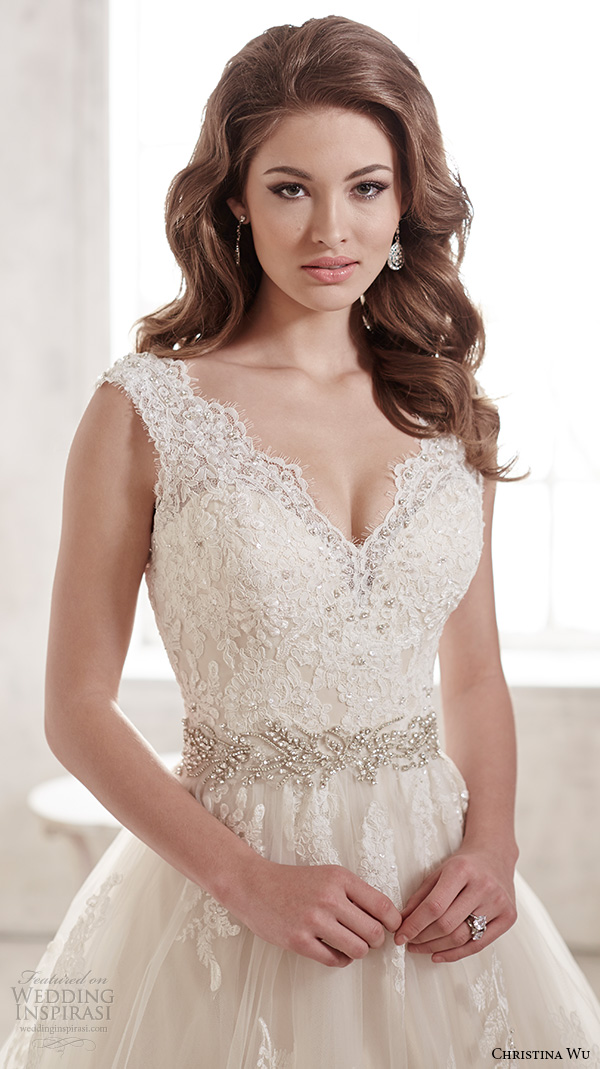 christina wu wedding dresses 2015 thick lace strap v neckline stunning a line wedding dress 15580 close up