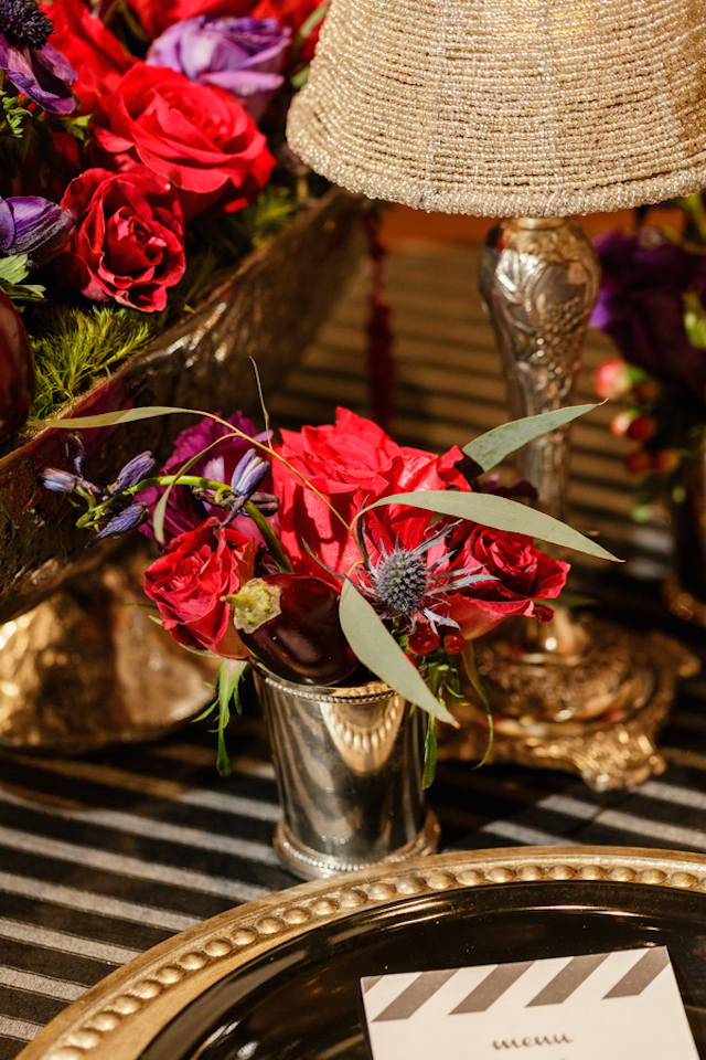 Rose centerpiece | Sarah Rachel Photography | see more on: http://burnettsboards.com/2015/07/industrial-glam-wedding-black-gold-red/