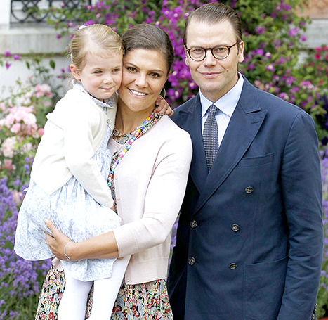Princess Estelle of Sweden, Crown Princess Victoria of Sweden and Prince Daniel of Sweden on July 14.