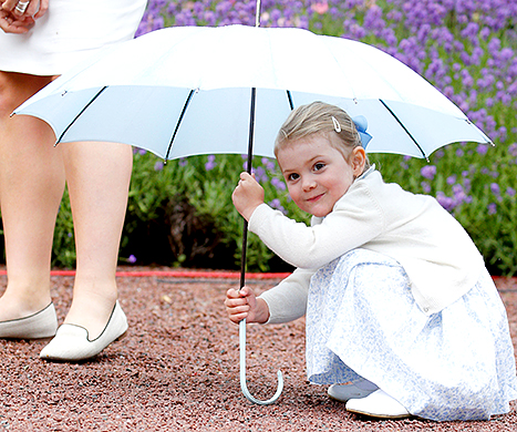 Princess Estelle of Sweden attends the 38th Birthday celebrations of Crown Princess Victoria of Sweden on July 14.
